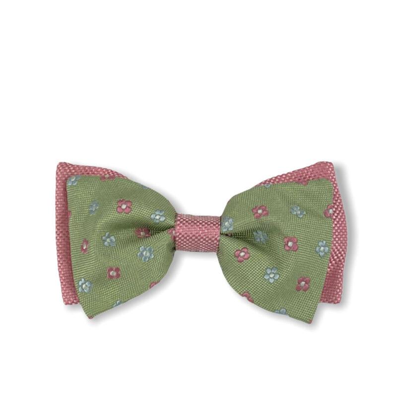Παπιγιόν Πράσινο - Ροζ 100% Silk