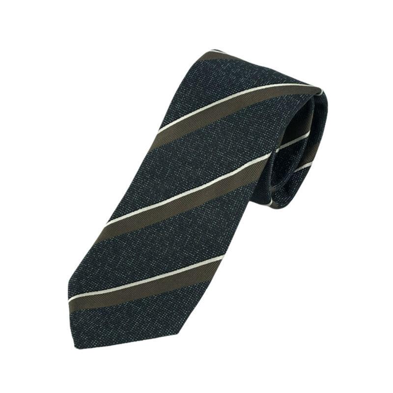 Γραβάτα Πλεκτή Microfibra Μπλε - Καφέ Ριγέ