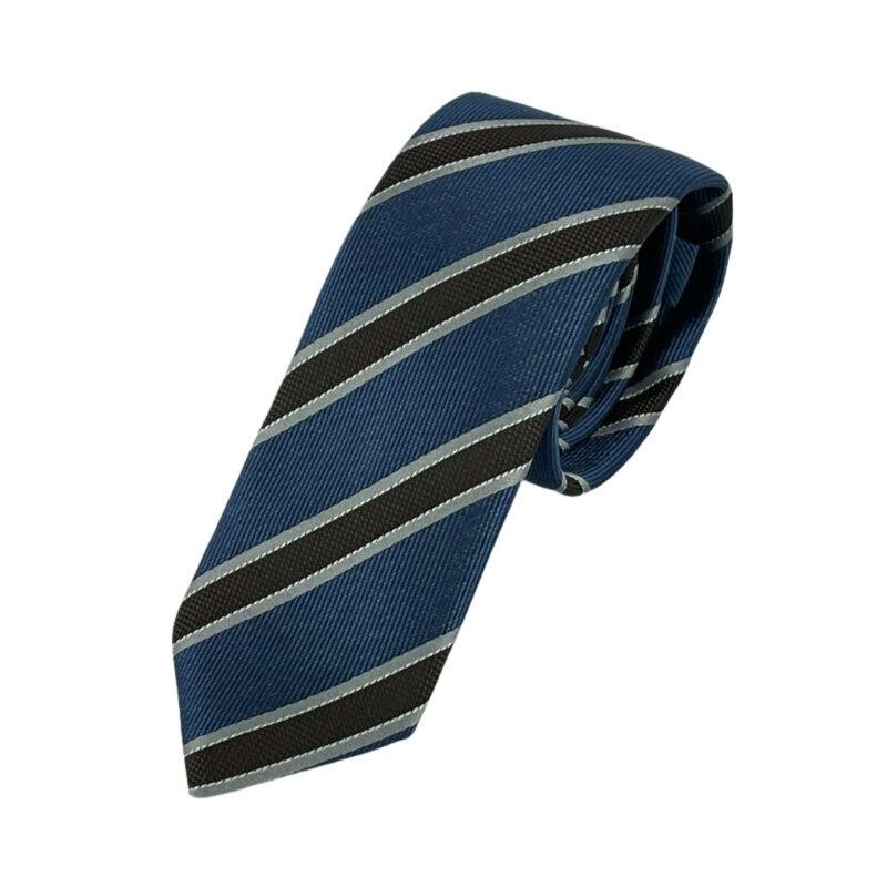 Γραβάτα Πλεκτή Microfibra Ραφ - Καφέ Ριγέ