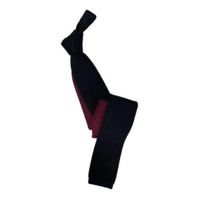 Γραβάτα Πλεκτή Μάλλλινη Μαύρη - Μπορντώ 202-17-1750-1707-1