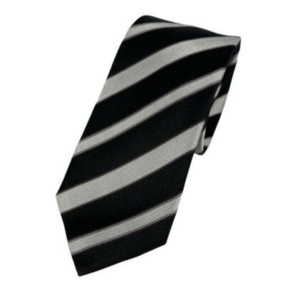 Γραβάτα Imperiale Μεταξωτή Μαύρη - Γκρι Ριγέ 202-20-2000-2001-1