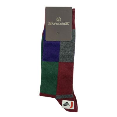 Κάλτσες Μπορντώ - Πράσινες Jacquard