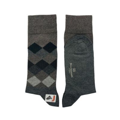 Κάλτσες Καφέ - Γκρι Jacquard