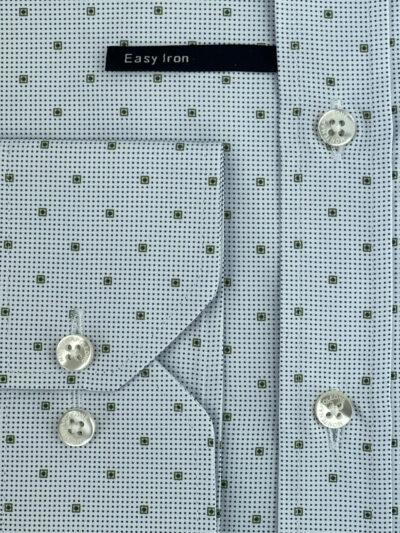 Πουκάμισο Λευκό - Olive Green Print Interfit