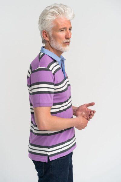 Μπλούζα πόλο ριγέ Μωβ