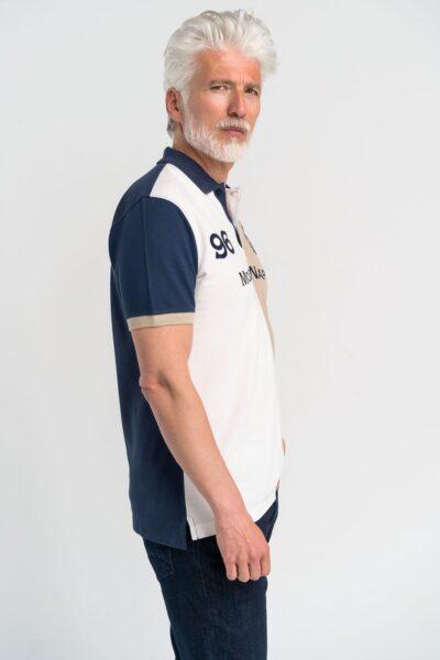Μπλούζα πόλο τρίχρωμο colorblock Μπεζ