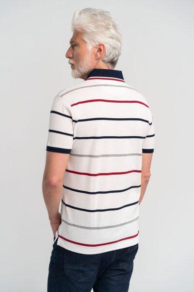 Μπλούζα πόλο ριγέ Λευκή