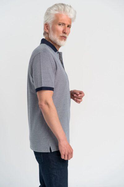 Μπλούζα πόλο μονόχρωμη Γκρι-Μπλε