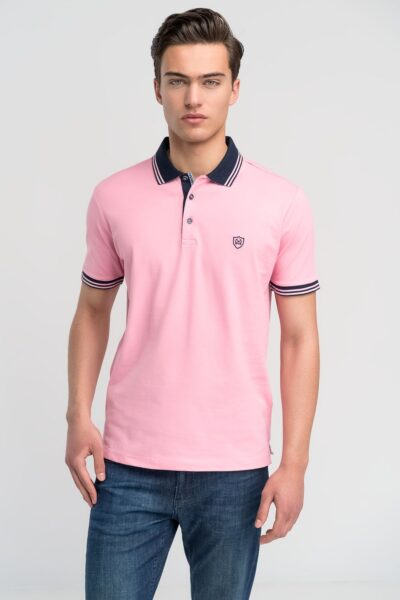Μπλούζα πόλο μονόχρωμη Ροζ