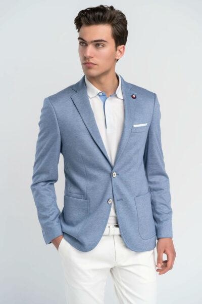 Σακάκι Μονόχρωμο Γαλάζιο Comfort