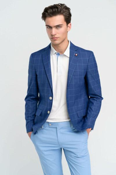 Σακάκι Καρό Royal Blue Comfort