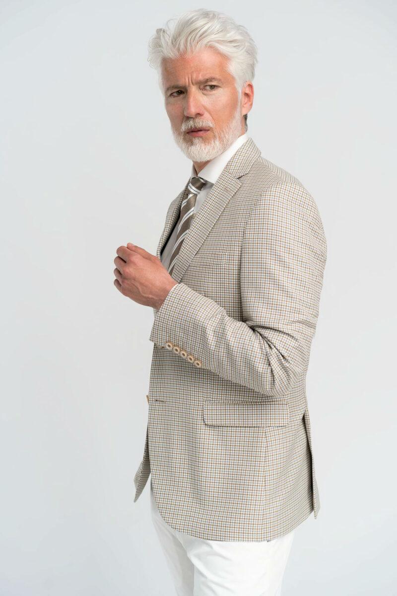 Σακάκι Καρό pied de poule Μπεζ Interfit