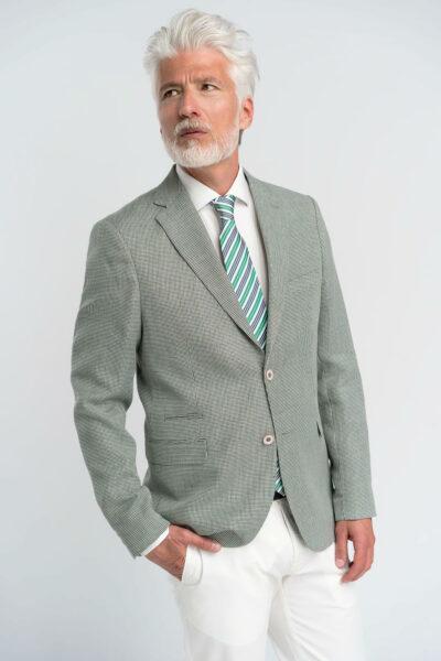 Σακάκι petit carreaux Olive Green Interfit