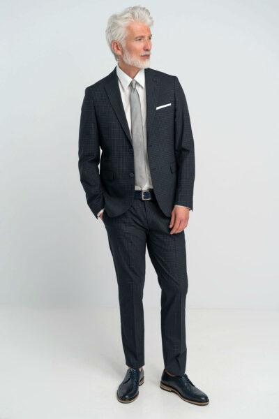 Κοστούμι καρό Μπλε Interfit